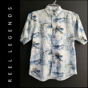 Reel Legend Men Button Front Cotton Shirt Size Lar